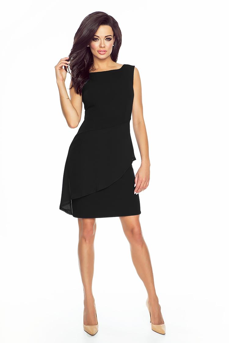 Elegancka Asymetryczna Czarna Sukienka Z Baskinka