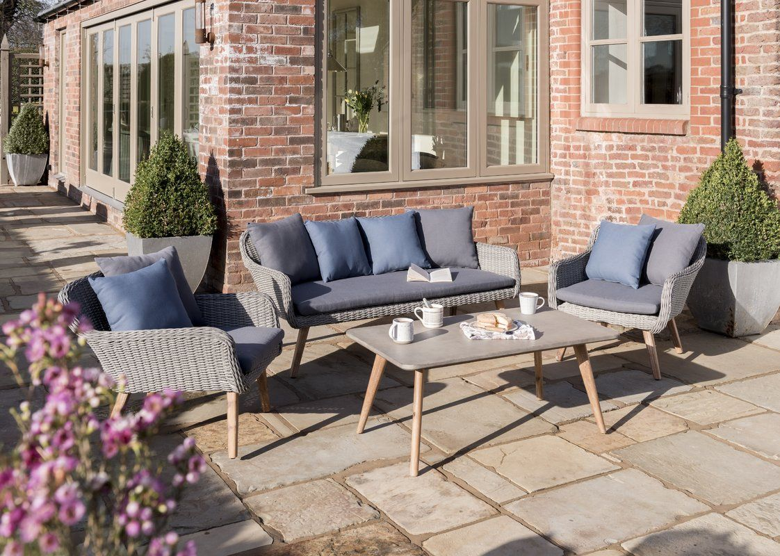 Pim 5 Seater Rattan Sofa Set With Cushions With Images Garden Sofa Set Garden Sofa Rattan Sofa Set