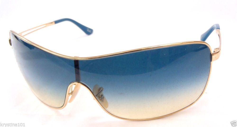 RAY BAN RB3466 001/79 GOLD ARISTA BLUE MIRROR LENS SHIELD 3466 ...