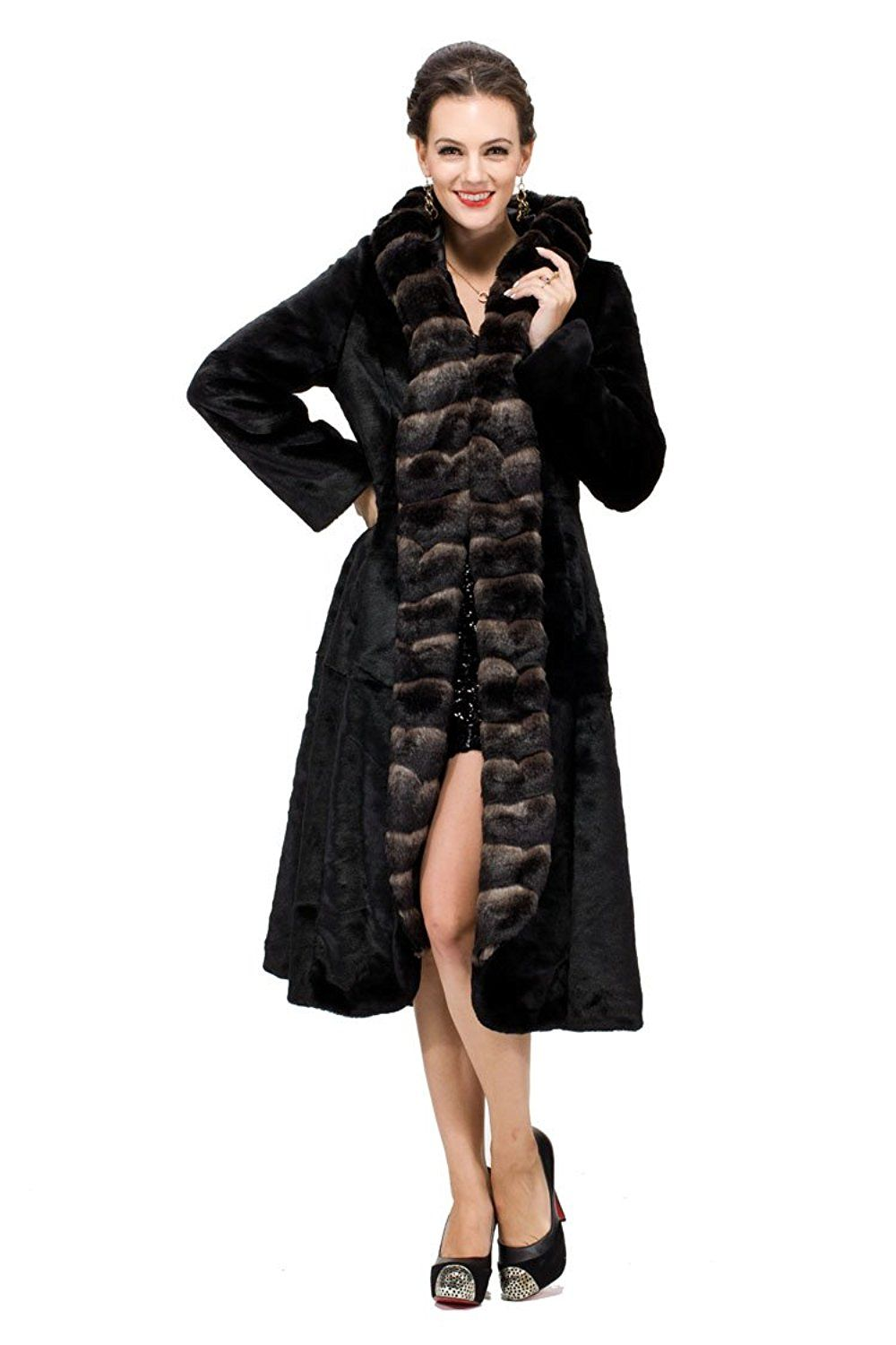 Adelaqueen Women's Sheared Mink Faux Fur Coat Hooded With Faux Chinchilla Trim at Amazon Women's Coats Shop