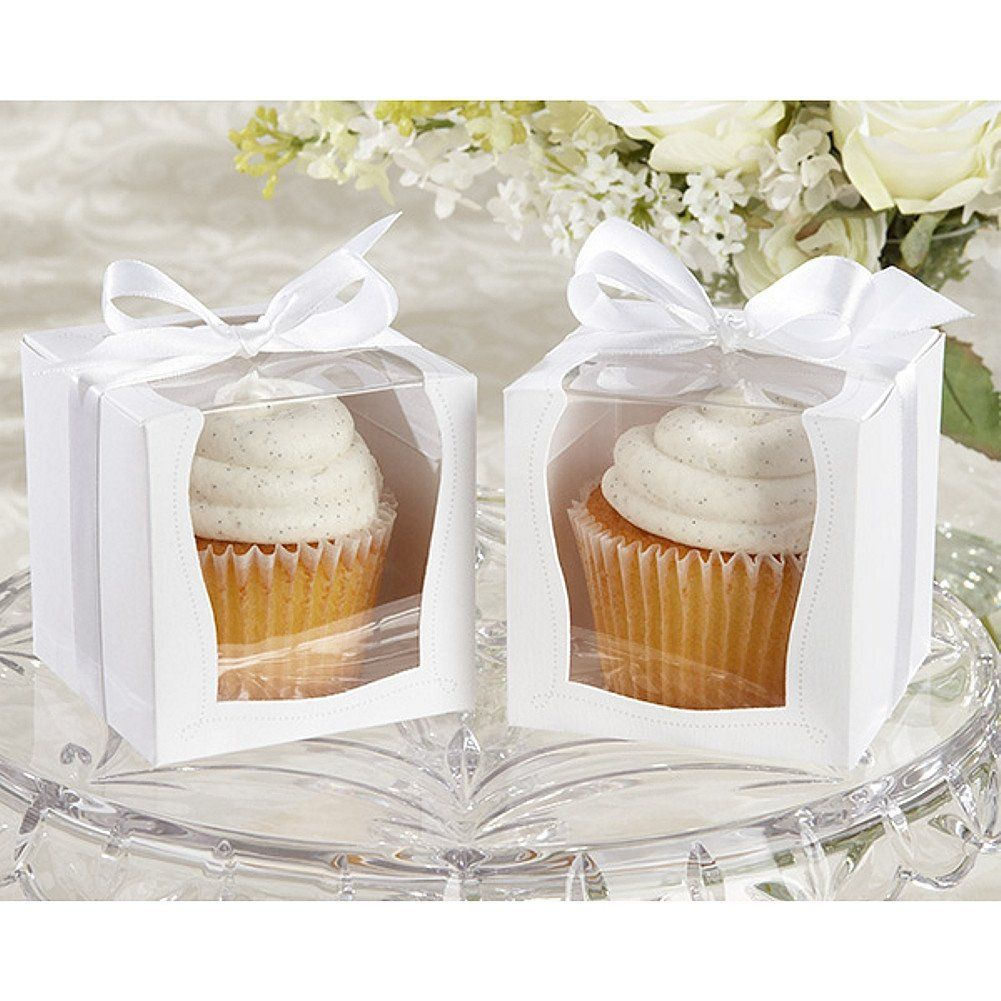 Sweet White Cupcake Boxes with White Ribbons | Cupcake boxes and ...