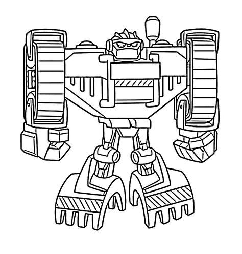 Boulder bot coloring pages for kids, printable free - Rescue bots ...