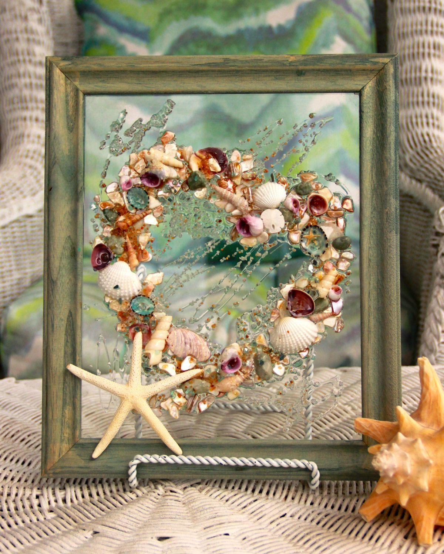 Seashell Art for Beach Wedding Gift, Valentine on Glass, Valentine Gift for Beach Lover, Heart Decoration, seashell art on glass by SeaSideCreations1 on Etsy
