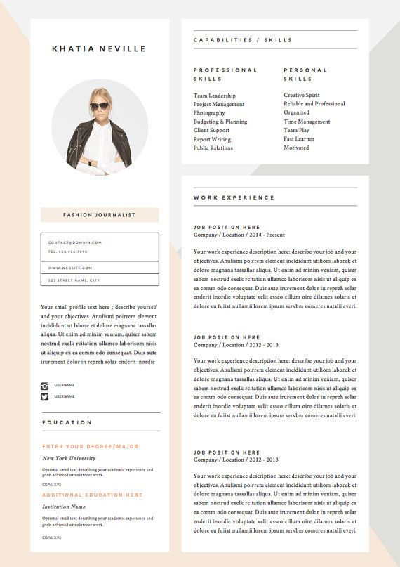 5 page resume template and cover letter door theresumeboutique - Creative Cover Letter Template