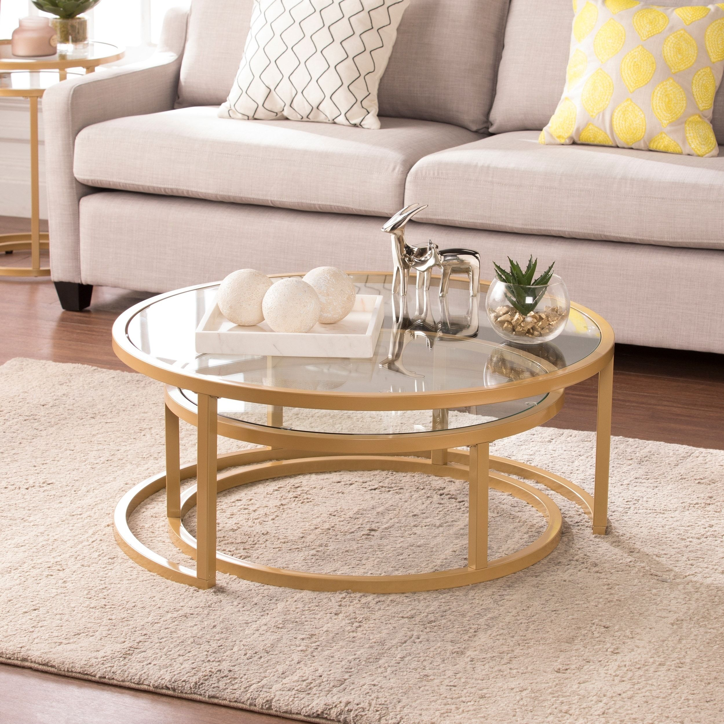 Harper blvd elisha goldtone steel with glass tops glam 2 piece nesting cocktail table set overstock com shopping the best deals on coffee sofa end