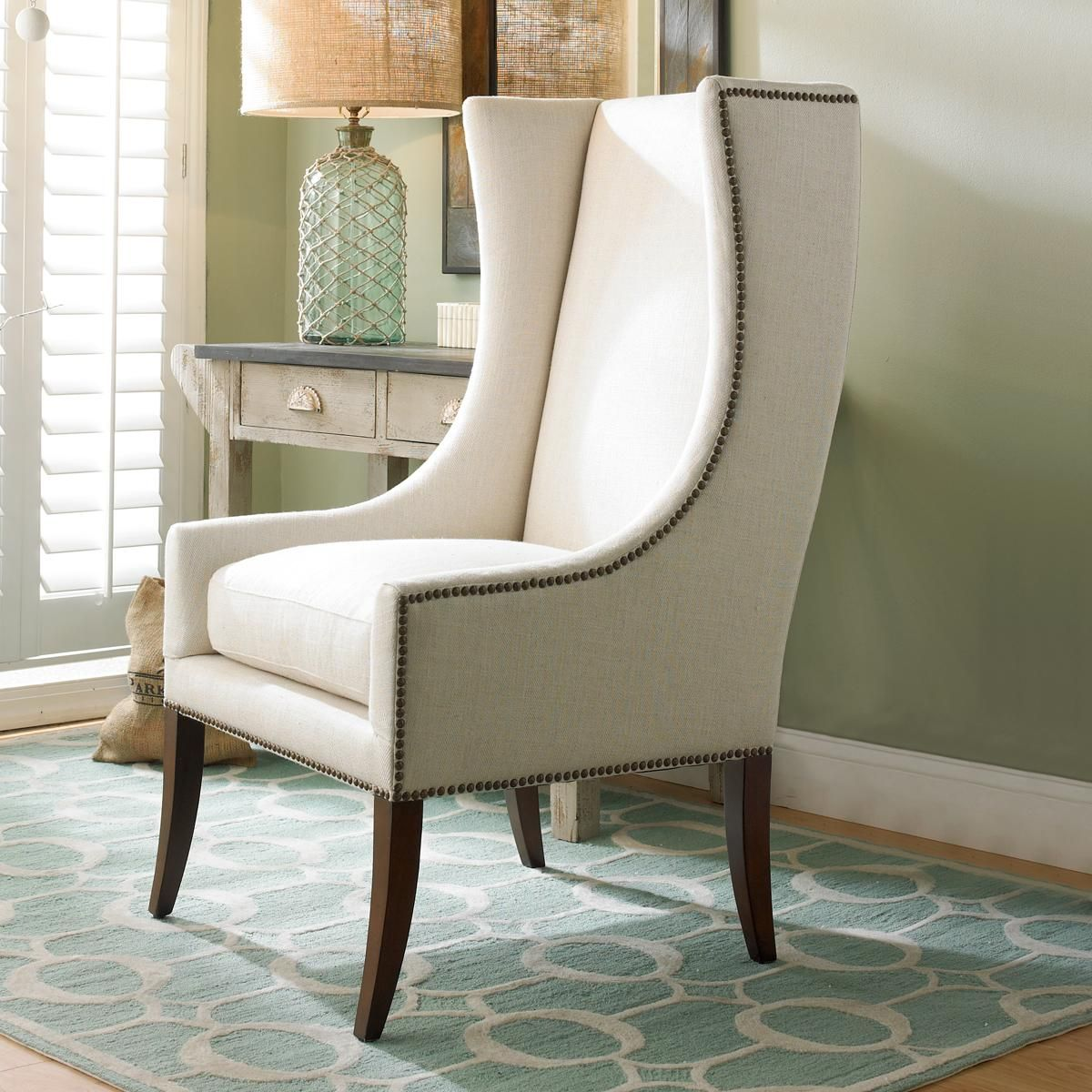Modern Wing Chair W Nailhead Trimthis Sleek Accent Chair