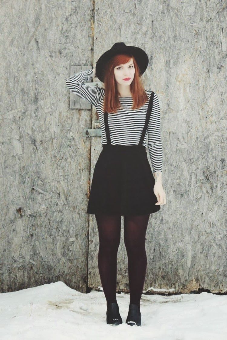 Popular Striped Shirt, Suspender Skirt. Reminds me of Jess from New Girl  HS05
