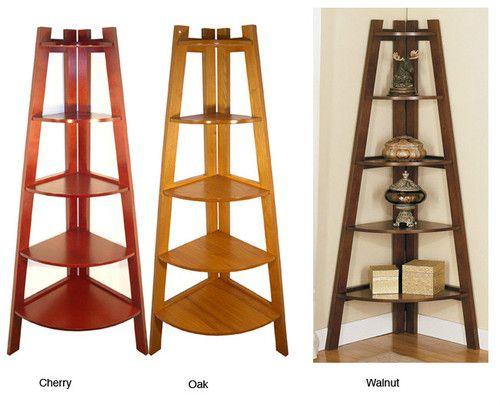 5 Tier Wood Corner Bookshelf Storage Shelf Cherry Oak Or Walnut Finish Furniture Decoracion De Estilo Rustico Muebles De Esquina Decoracion De Muebles