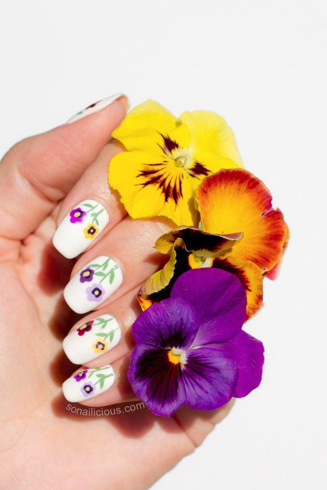 Siberian Pansy Flower Nail Art Tutorial Simple Nail Art Designs Flower Nail Art Funky Nail Art