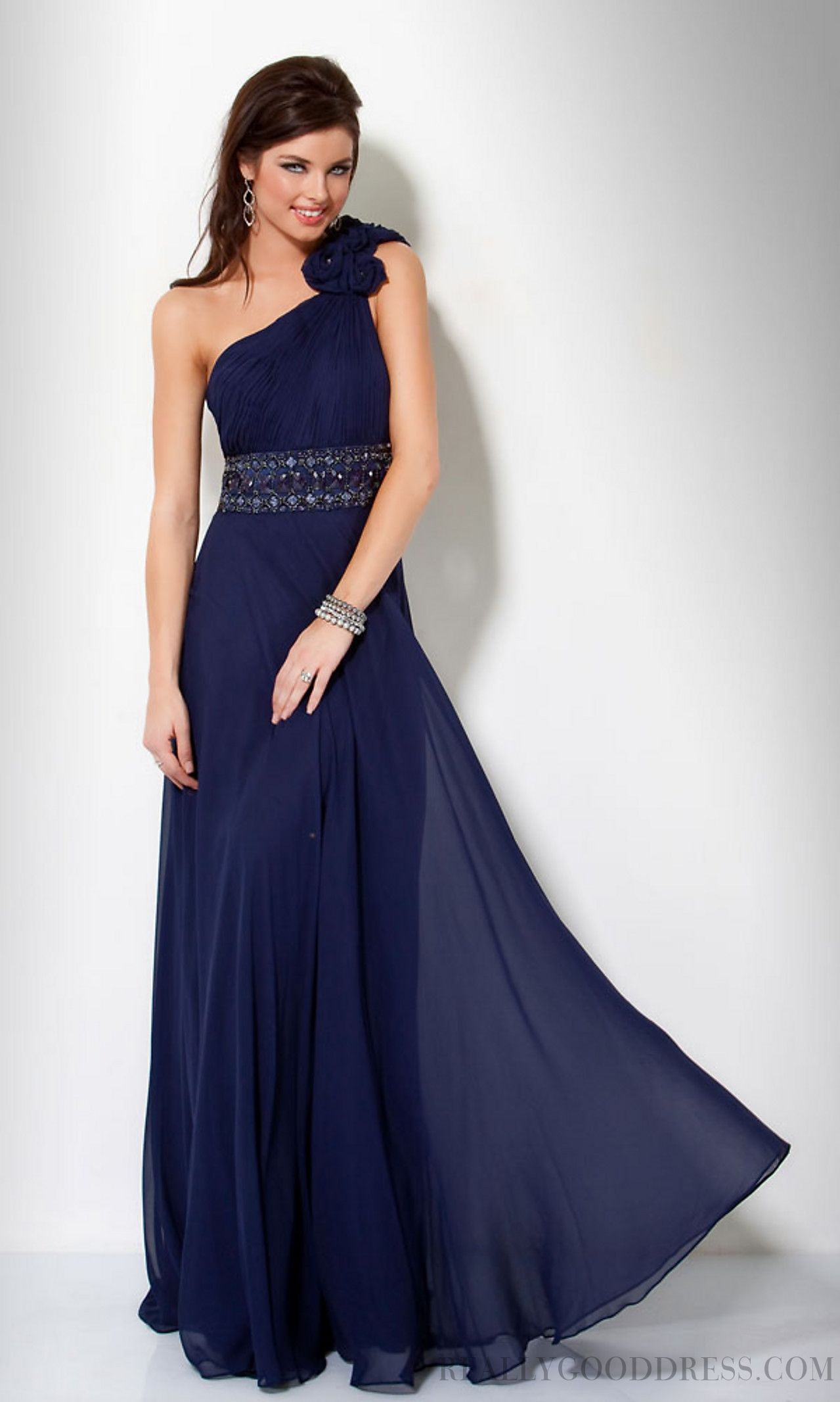 A-line Floor-length One Shoulder Chiffon Prom Dresses