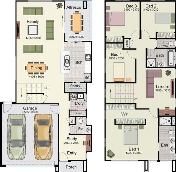 Casa Con Hermoso Diseno Moderno Con 4 Dormitorios Y 2 Garajes 2 Planos De Casas Plano Casa 2 Pisos Casas De Dos Pisos