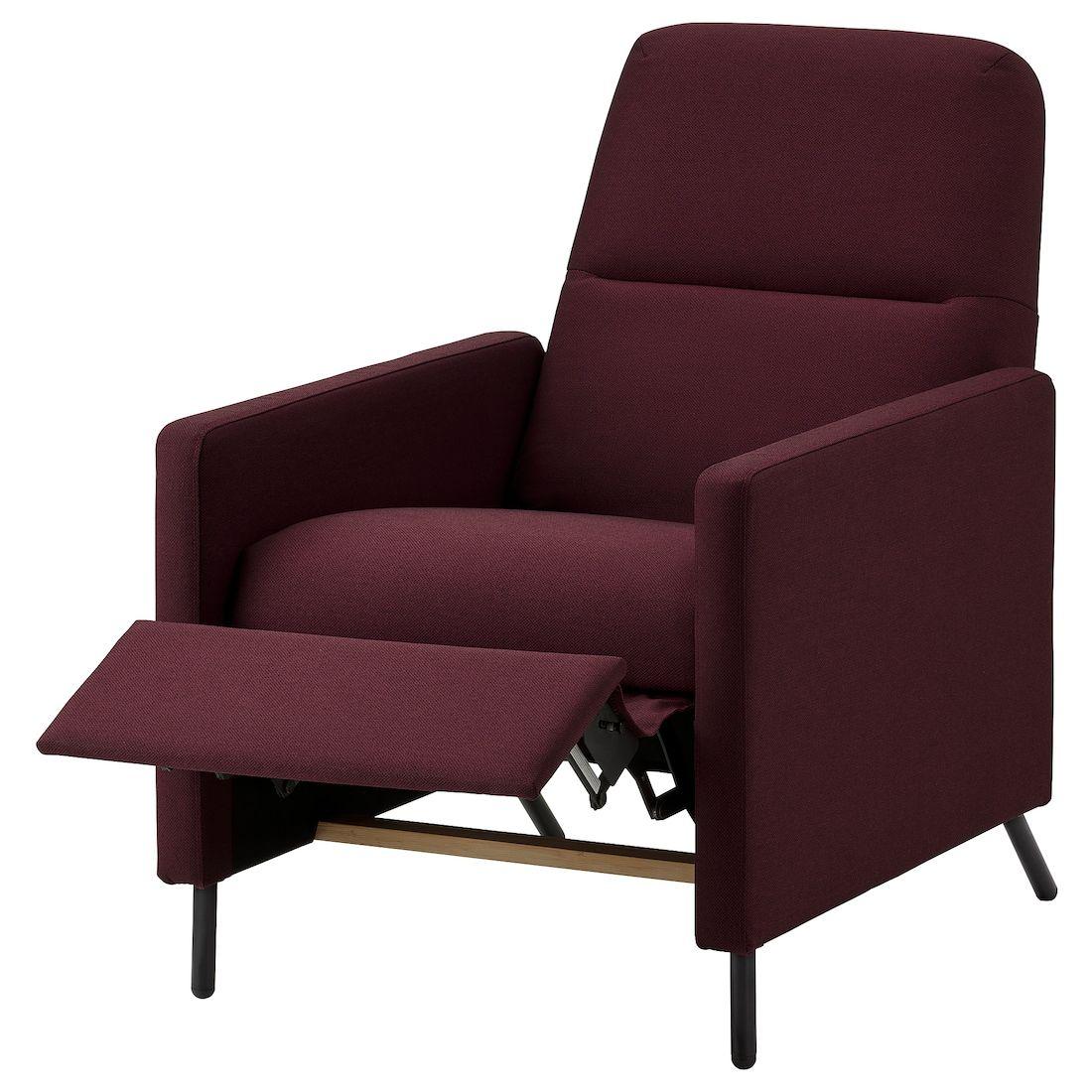 Gistad Recliner Idekulla Dark Red Ikea In 2020 Recliner Reclining Armchair Recliner Chair
