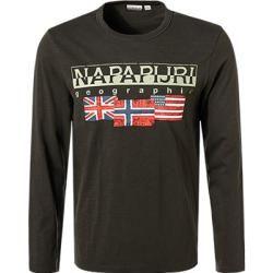 Napapijri Herren T-Shirt Longsleeve, Baumwolle, dunkelgrün Napapijri