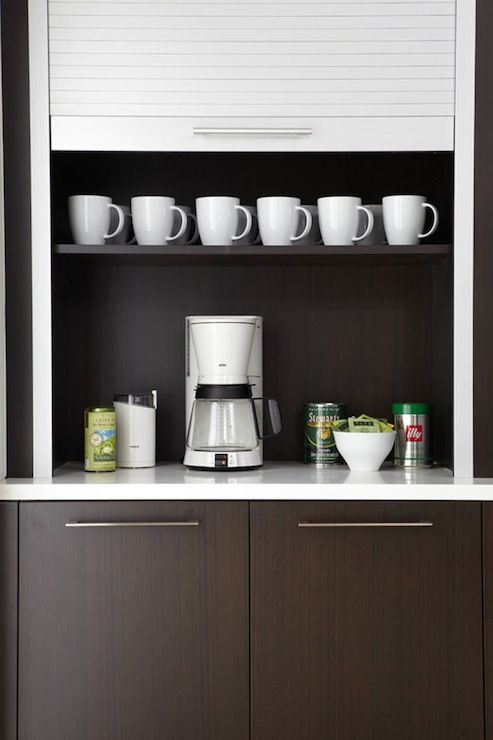 Caden Design Group: Contemporary Kitchen Coffee Station With Espresso  Veneer Cabinets Paired With White .