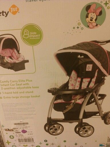Flower Minnie Mouse Travel Stroller Set Stroller And Car