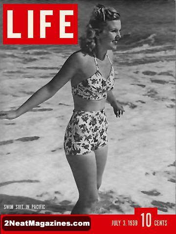 Life Magazine July 3, 1939 : Cover - Joyce Mathews in a swimming suit at ocean (feature on swimming suits and beach wear, tennis wear inside).