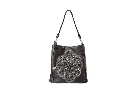 Brighton Anju Beaded Soft Bucket Black - Zappos.com Free Shipping BOTH Ways