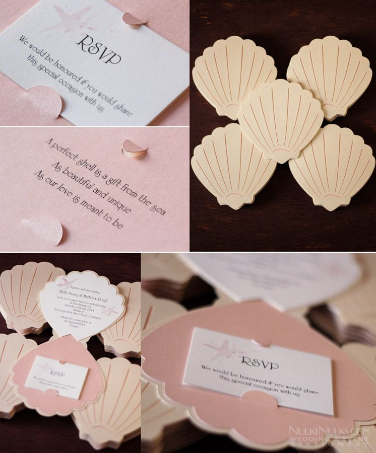 Sea Shell Themed Wedding Invitations And Accessories Real Weddings Stationery By Nulki Nulks