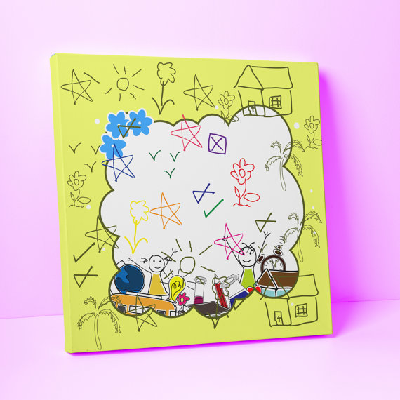 Canvas art for Kids - Mixed Media Collage - Canvas nursery wall art ...