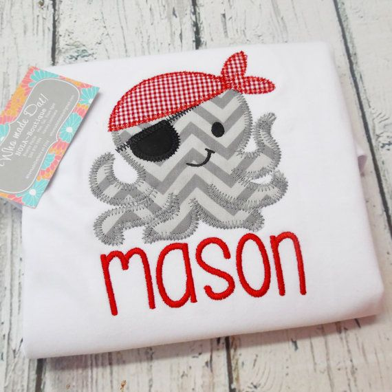 Personalized Embroidery Summer Beach Pirate Octopus Shirt, Onesie,  or Bubble
