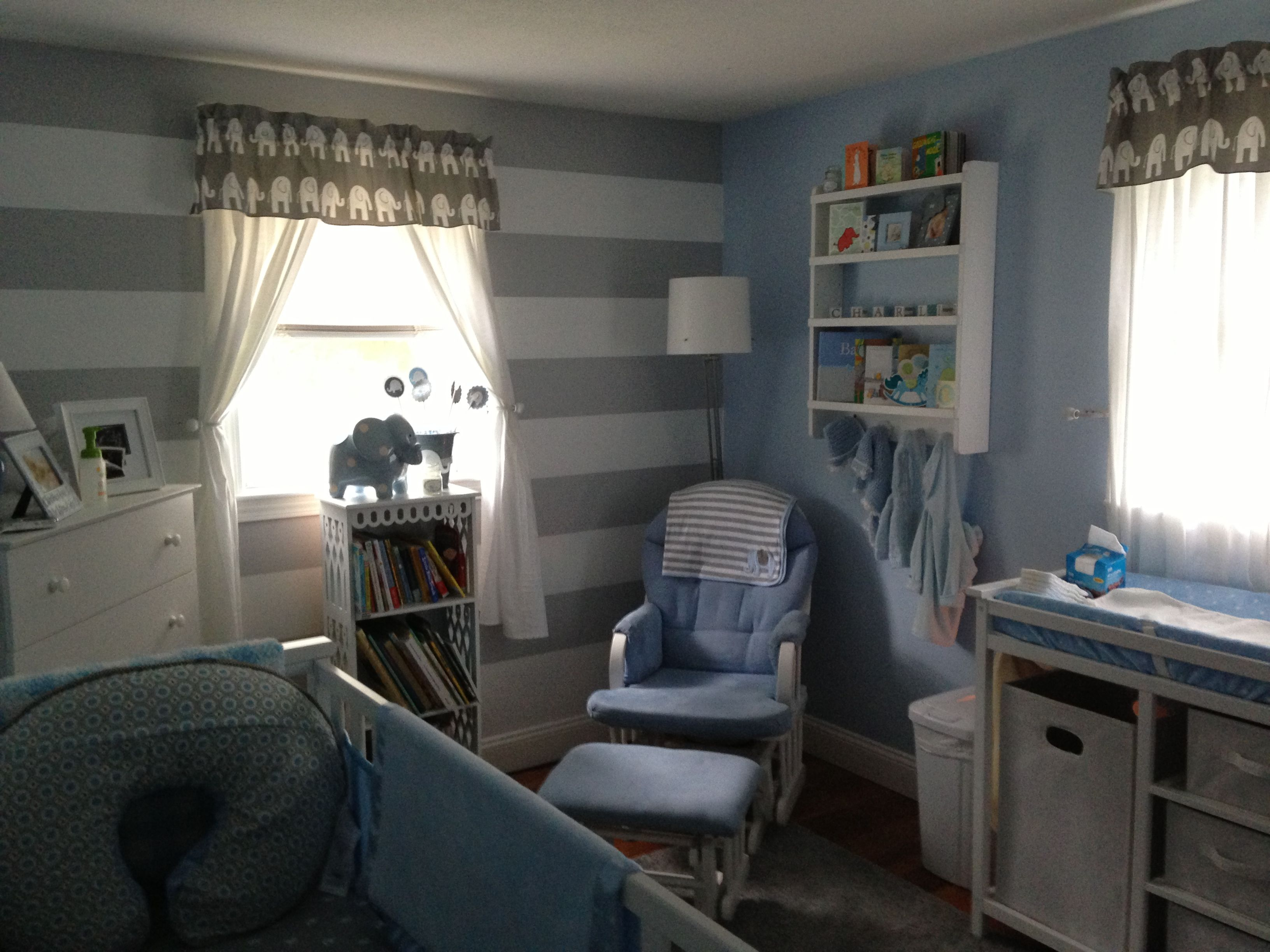Blue, white, grey nursery.