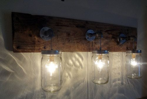 Rustic Bathroom Vanity Barn Wood Mason Jar Hanging Light Fixture Primitive ~ I want this !