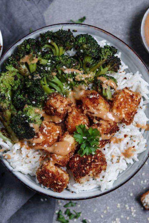 Rezept für Knuspriger Sesam-Tofu mit Kokos-Basmati-Reis