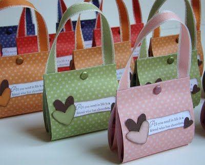 Qbee's Quest: Ghirardelli Square Purses Taske i papir sjov ide til gave indpakning eller kort