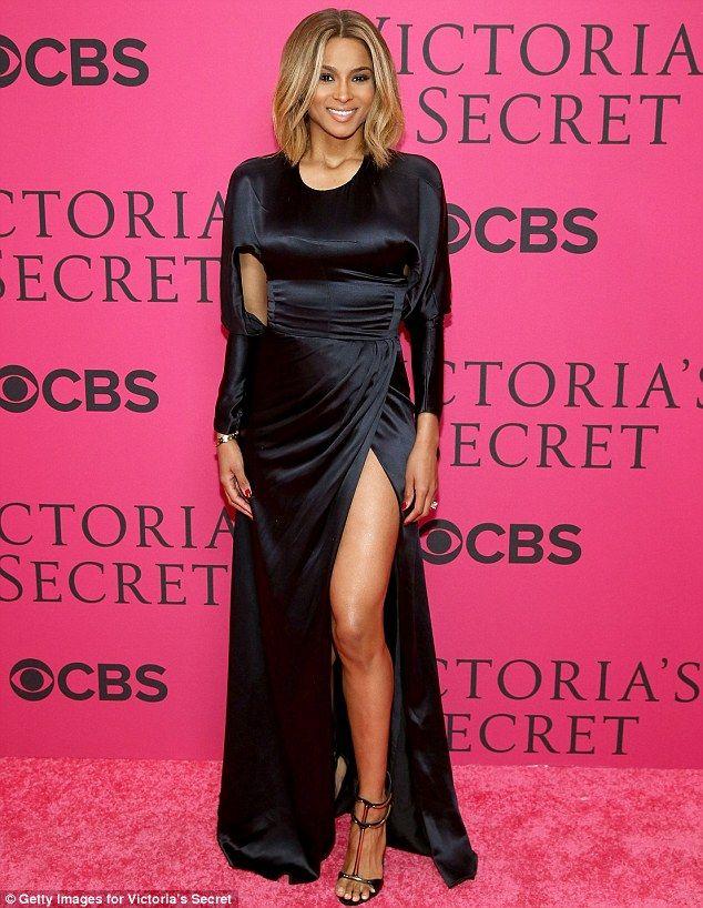Ciara Wows In Black Satin Gown Flashing Her Toned Leg On Pink Carpet