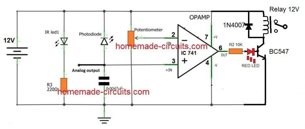 Simple Ir Proximity Sensor Circuit With Relay Activation Electronic Schematics Circuit Projects Sensor