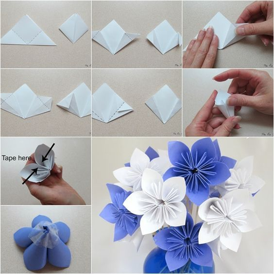 Fold a paper flower yelomdiffusion how to make paper origami flower bouquet creative craft mightylinksfo