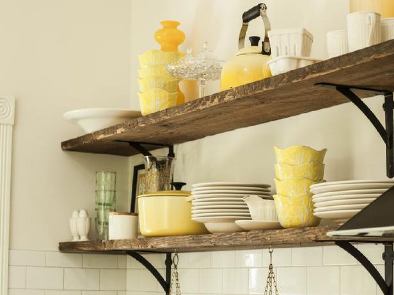 Rustic kitchen shelving ideas, rustic white kitchen open shelves ...