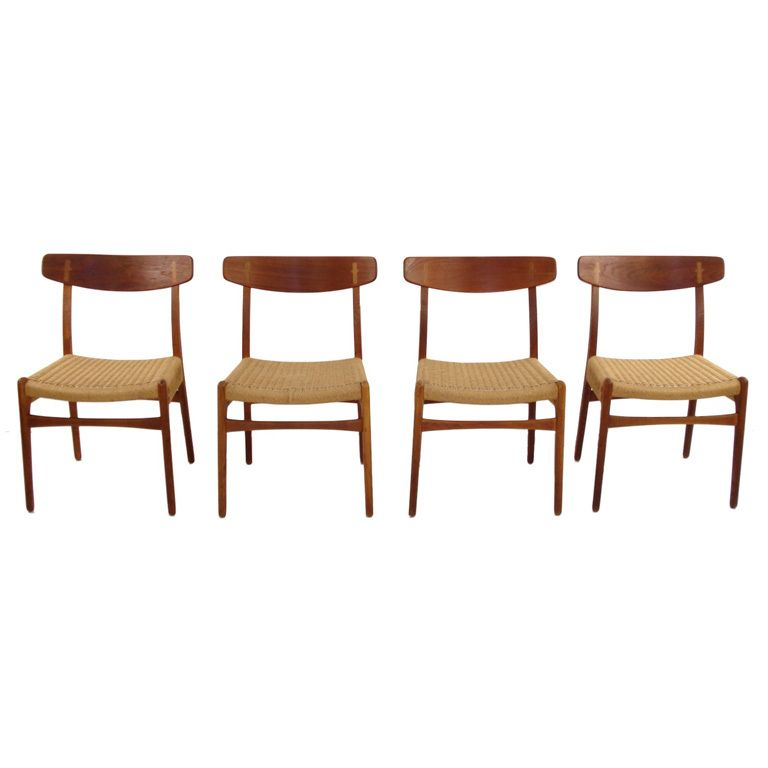 Four Danish Modern Teak And Oak Dining Chairs By Hans Wegner Oak
