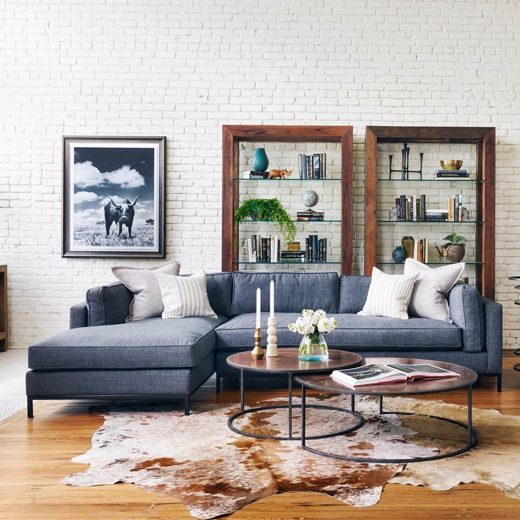 Grammercy Sectional Sofa Bennett Charcoal Family Room Design Living Room Interior Living Room Designs