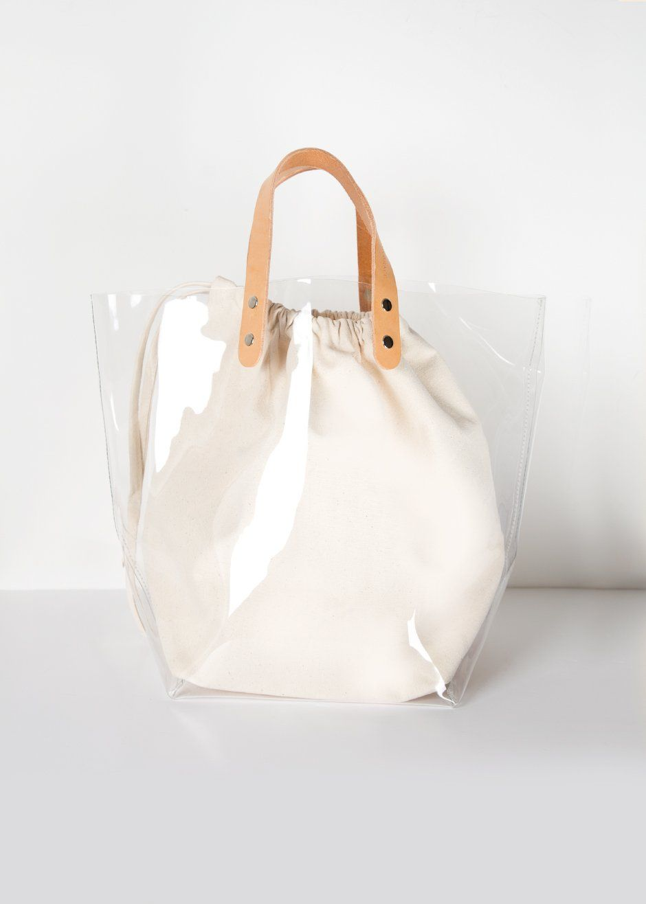 Clear Vinyl Canvas Tote Bag The Frankie Shop Bamboo Bag Bags Canvas Tote Bags