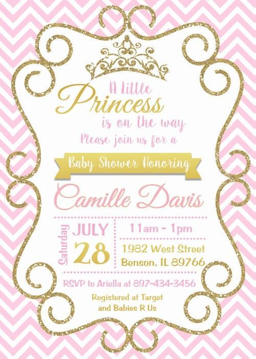Princess pink and gold baby shower invitation digital or printed princess pink and gold baby shower invitation digital or printed filmwisefo Choice Image