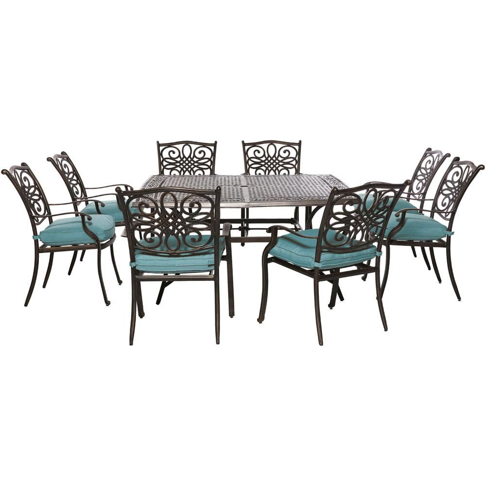 Hanover Traditions 9 Piece Aluminum Outdoor Square Patio Dining Set With Blue Cushions Traddn9pcsq Blu The Home Depot In 2020 Patio Dining Set Outdoor Dining Set Outdoor Dining