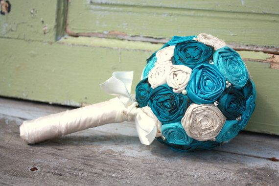 Wedding bouquet custom fabric flower brides by thepaisleymoon, $85.00