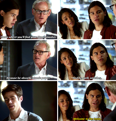 """Welcome to the team"" - Cisco, Dr. Stein, Barry and Iris #TheFlash"