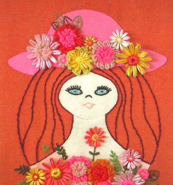 Retro Embroidery Felt Art - Bohemian Fabric Wall Art ...