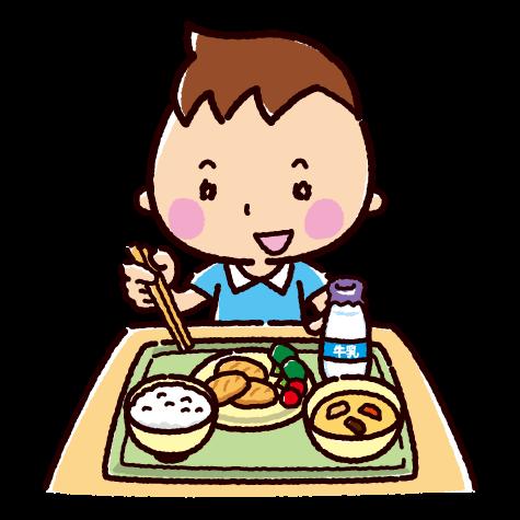 給食を食べる子供のイラスト 2カット イラスト 男の子 イラスト 男の子 イラスト