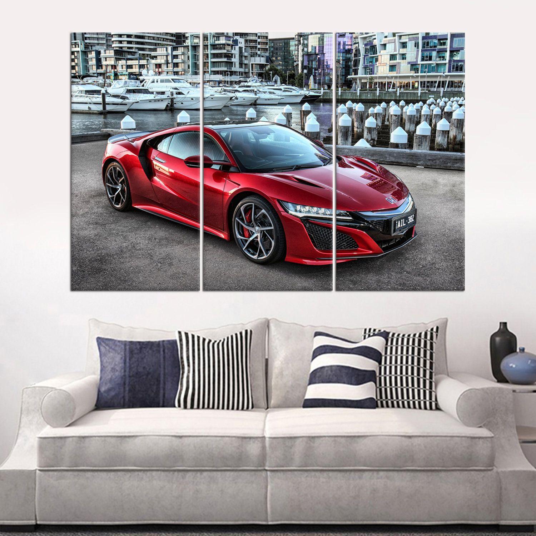Red Honda Nsx Large Wall Art Set Supercar Framed Canvas Print Etsy Large Wall Art Framed Canvas Prints Wall Art Sets