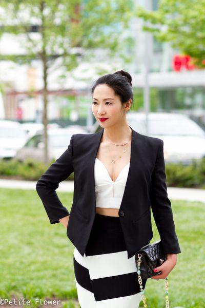 Black Tux & Mint Striped Crossover Skirt