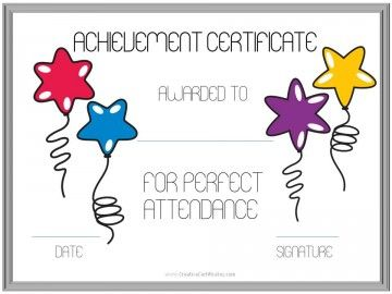 Perfect Attendance Award Certificates Attendance Certificate Perfect Attendance Perfect Attendance Certificate