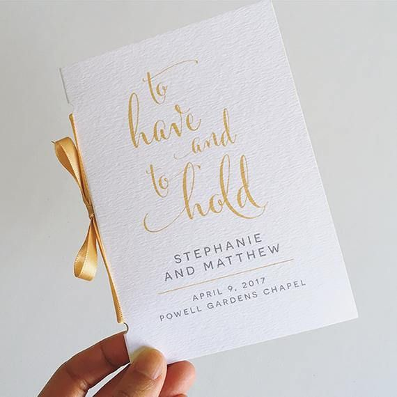 modern calligraphy wedding program to have and to hold wedding