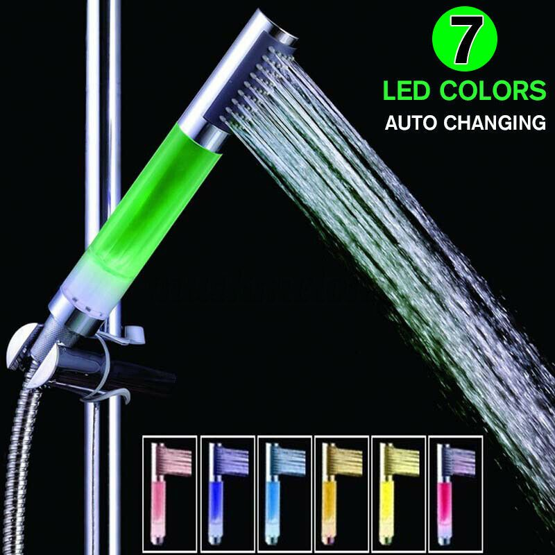 7 Color Changing Led Handheld Singal Shower Head Spraying Bathroom Water W Shower Head Showerhead In 2020 Color Changing Led Led Color Shower Heads