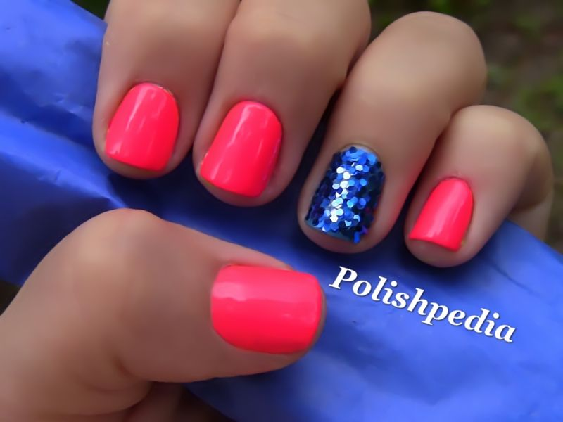 Neon Pink Nails With Blue Glitter. Maybe do a red with 1 blue glitter for  the of July? - Neon Pink With Blue Glitter. Yes! Nails Pinterest Blue