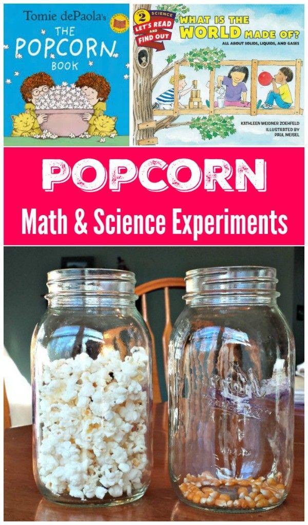 Popcorn Math & Science Experiments for Kids #scienceexperimentsforpreschoolers