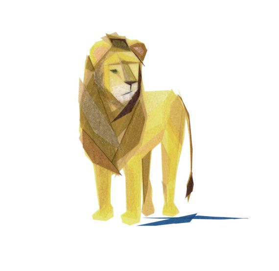 Simon Lion  Animal Art Print by TinyFawn on Etsy