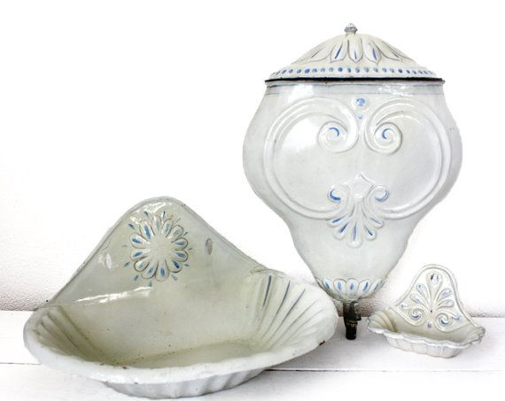 Antique French WHITE and blue ENAMEL Fountain and by RueDesLouves